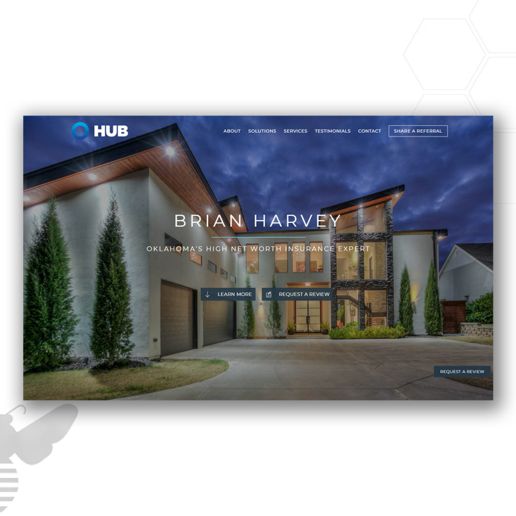 Brian Harvey insurance agent home page by hive design team