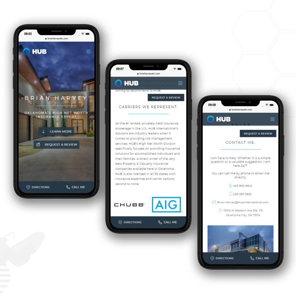 Mobile view for Brian Harvey Insurance Agent Website